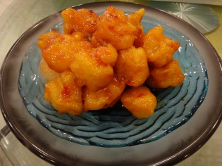 Battered prawn with sweet and sour sauce, how could anyone resist!