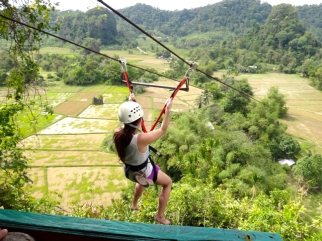 Zip lining from Ugong Rock