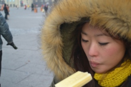 Eating ice blocks is a popular thing in Harbin - as they're warmer than the air!